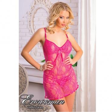 АКЦИЯ 20%! Сорочка + стринги, цвет-розовый, размер X/L