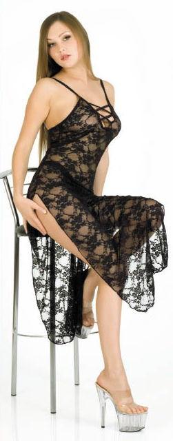 Длинное платье-сетка ажурное, черное,  размер S/L