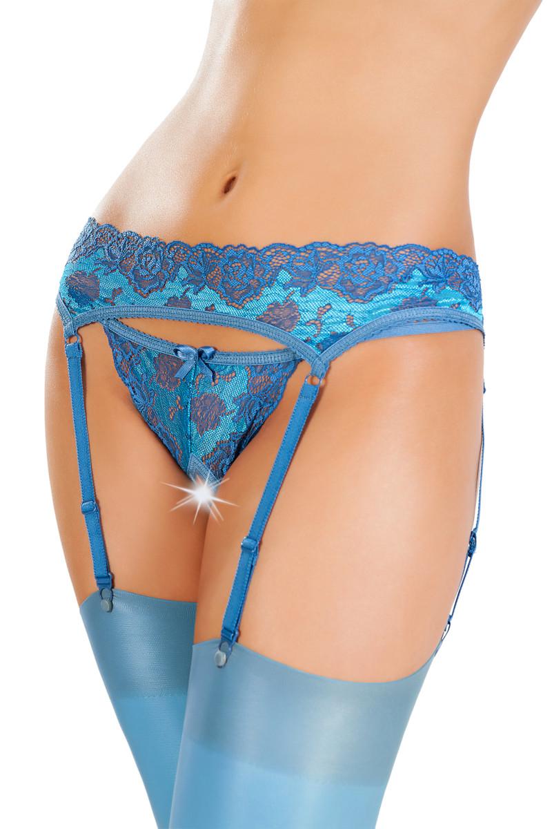 Эротический комплект: пояс для чулок и трусики кружевные с интимным доступом, голубые, разм. 46-48