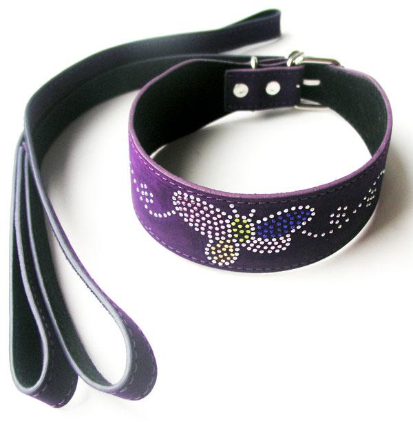 Ошейник с поводком, фиолетовый, с цветными стразами (текстиль)