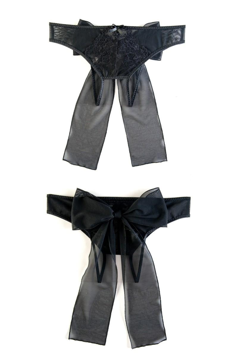 Эротические трусики с интимным доступом, стрейч-сетка, сзади завязываются на бант, черные, 42-44,  46-48