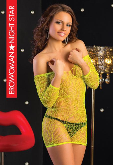 Платье кружевная сетка, цвет лайм, разм. L/XL