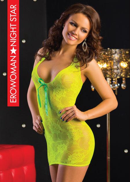 Платье кружевная сетка, цвет лайм, S/L