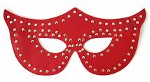 Карнавальная маска, искусственная кожа, с металлическими заклепками, красная
