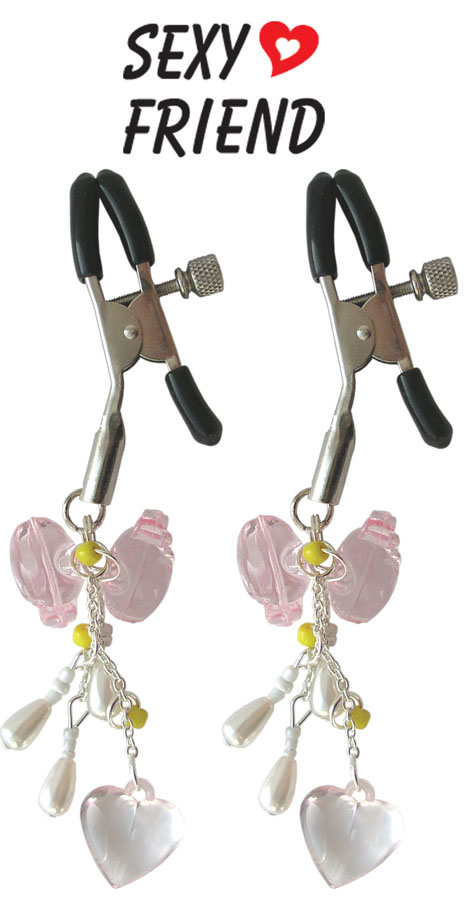 Регулируемые зажимы для сосков с декоративными украшениями, цвет - нежно-розовый