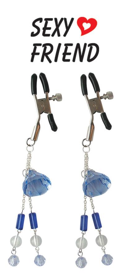 Регулируемые зажимы для сосков с декоративными украшениями, цвет - синий, голубой