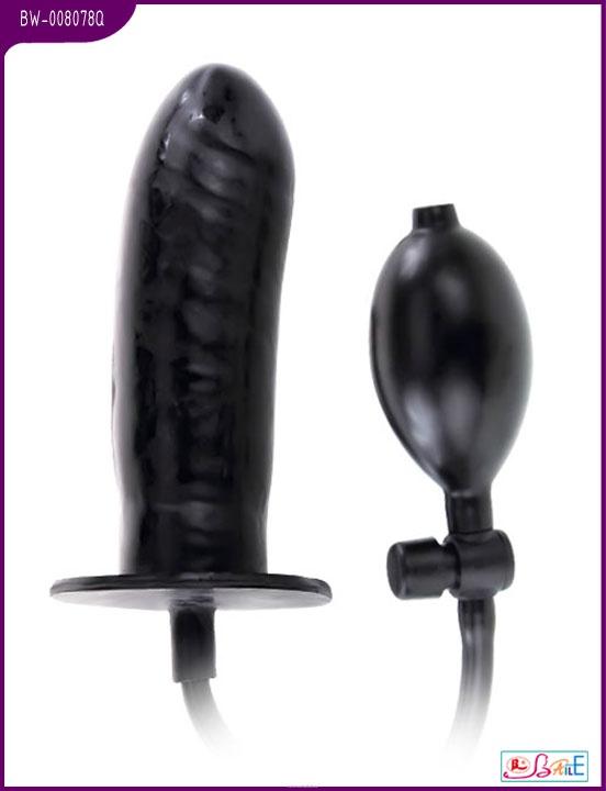 Фаллоимитатор BIGGER JOY с грушей, латекс, чёрный, 15,5х4 см
