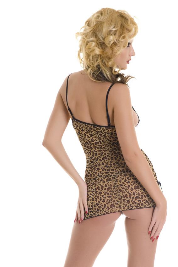 Комбинация и стринги, эластичная сеточка леопард, черное кружево, разм. S/L