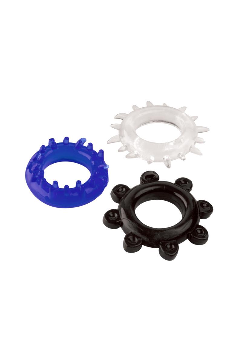 Набор разноцветных  эрекционных колец, силикон, прозрачные, 3 шт.