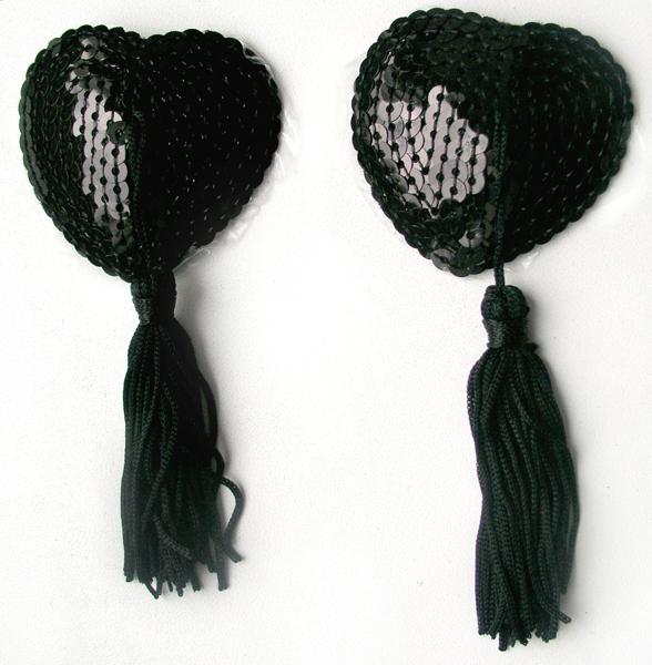 Пэстисы с пайетками и кисточками,  цвет черный, (текстиль)
