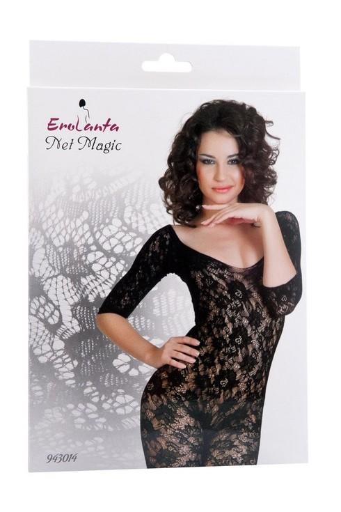 Комбинезон шелковистое плетение,  с рукавами, интимным доступом, размер S/L