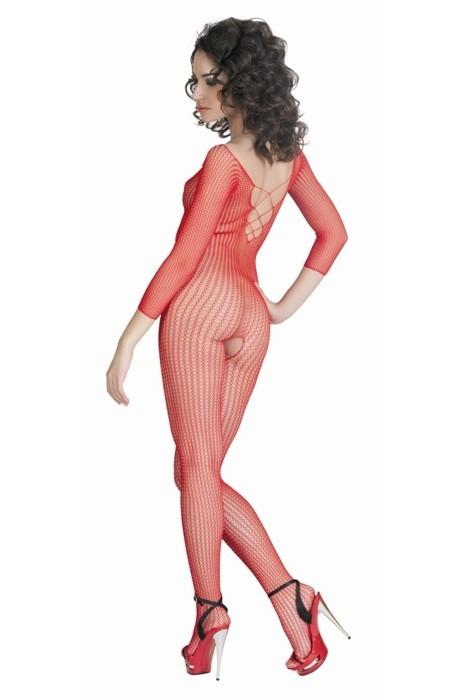 АКЦИЯ 20%! Костюм-сетка с интимным доступом, имитацией шнуровки, красный  S/L(42-48.)