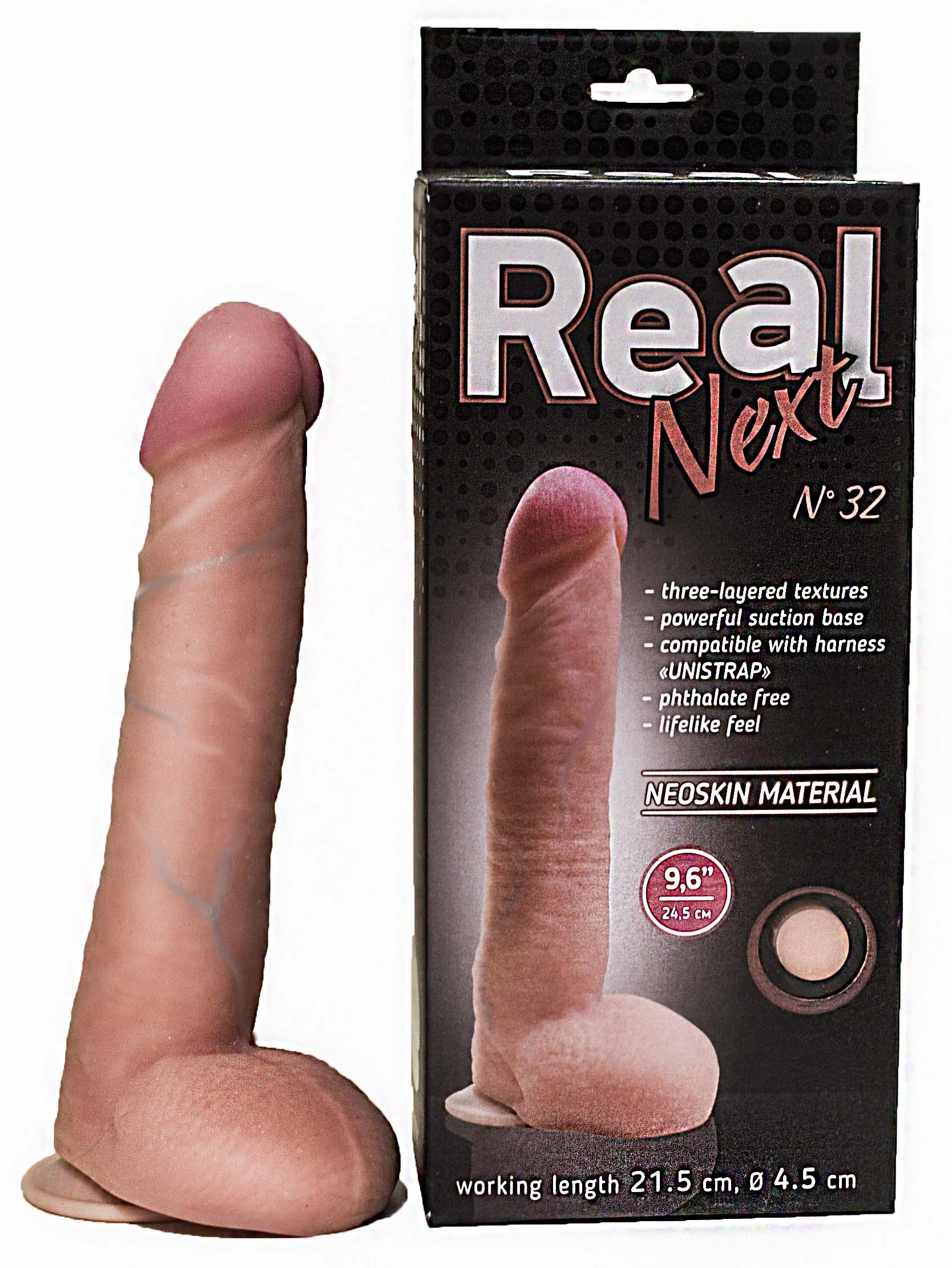 Фаллоимитатор с мошонкой REAL NEXT № 32 на присоске, 21,5(19,5)х4,5 см