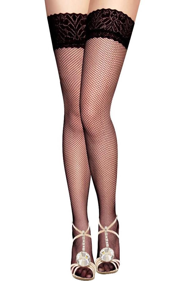 Чулки-сетка  черные, с кружевом, One Size (42-48)