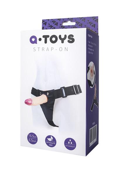 Универсальный страпон A-TOYS полый,  телесный, 18(16)х3,9 см
