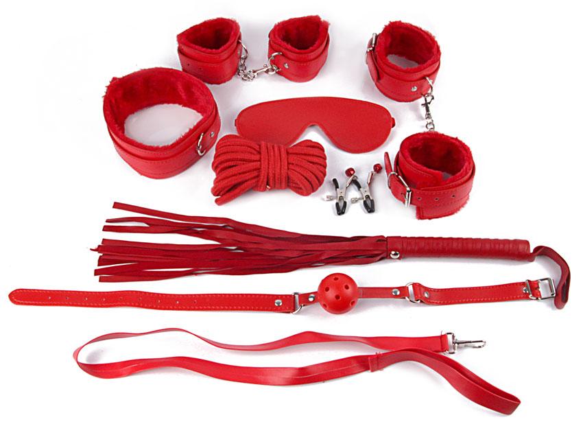 Комплект (8 позиций - наручники, оковы, маска, кляп, плеть, ошейник с поводком, верёвка, зажимы для сосков) цвет красный, PVC, текстиль