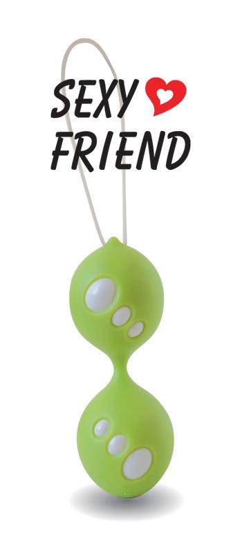 Вагинальные шарики SEXY FRIEND, силикон, зелёные,  3,5 см