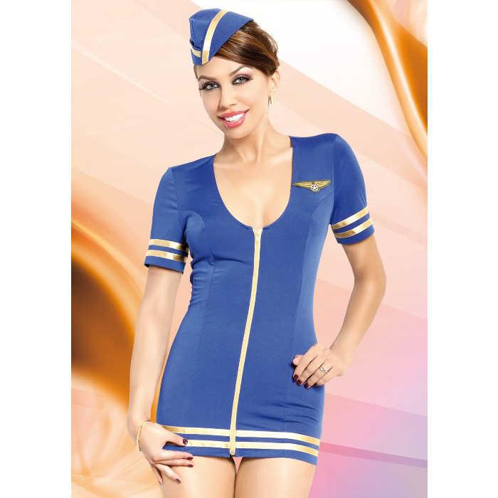 Костюм стюардессы: платье и головной убор, синий, разм. M/L