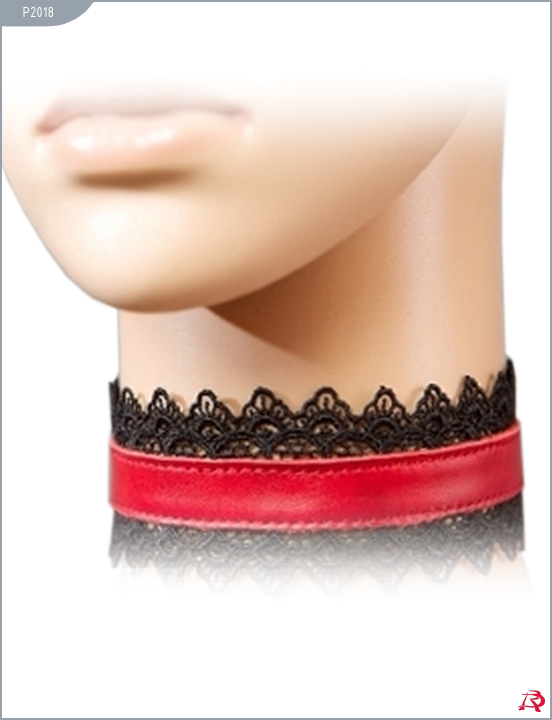 Ошейник натуральная кожа, с чёрным кружевом, красный, ширина - 1,5 см
