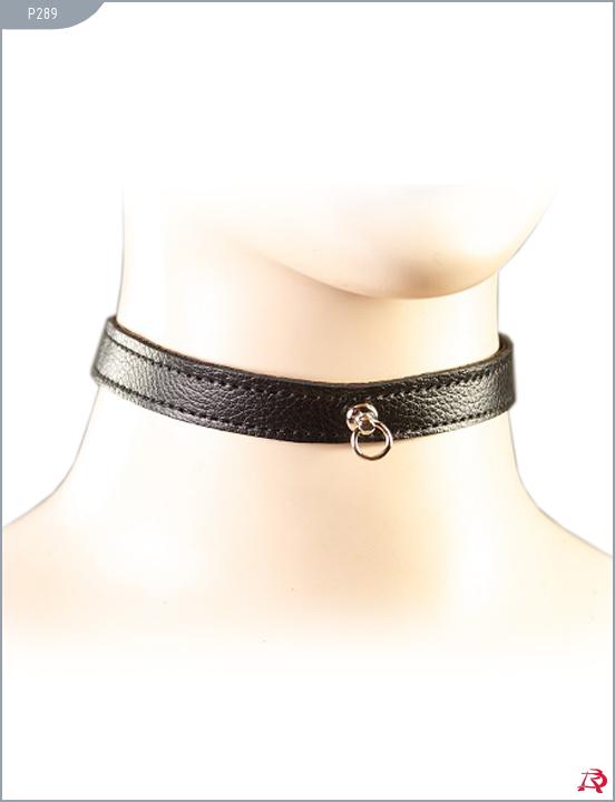 Декоративный узкий ошейник на липучке,  натуральная кожа,  черного  цвета.