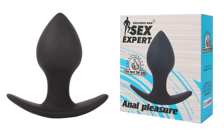 Малая анальная пробка SEX FRIEND для ношения, силикон, черная, 7х3,5 см