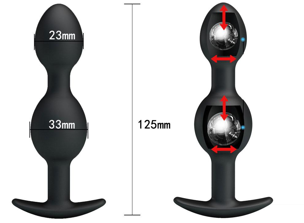 Анальная втулка для ношения с двумя шариками-эксцентриками внутри, силикон, черная, 12,5х3,3x2,8 см