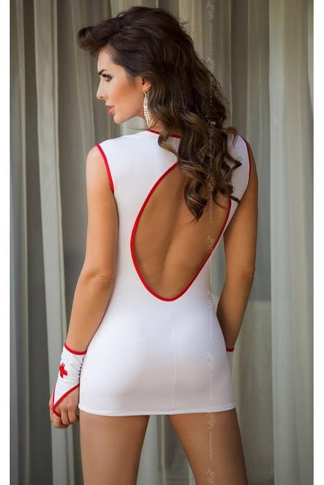 Костюм  медсестры SISTER (платье, перчатки) белое/красное, разм. M/L (46-48)