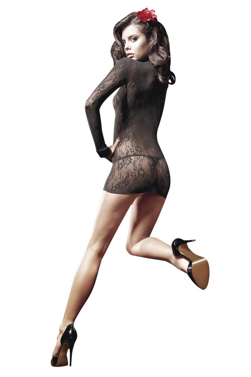 АКЦИЯ 25% Платье  с длинным рукавом, ажурная сетка, черное, разм. OS(42-46)