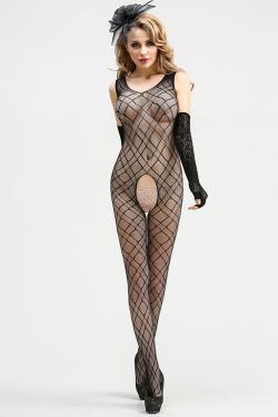 Комбинезон-сетка  Femme Fatale с интимным доступом, рисунок-ромб, черный, разм.  S/L (44-48)