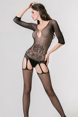 Бесшовный кетсьюит-сетка Femme Fatale с имитацией подвязок и доступом, черный,  разм. S/L (44-48)