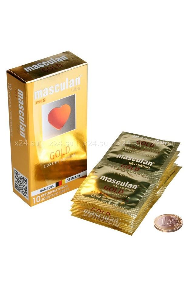 Презервативы MASCULAN ULTRA GОLD  утонченный латекс, золотого цвета, 10 шт.