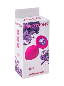 Анальная втулка средняя EMOTIONS силиконовая, розовая с фиолетовым кристаллом, 8,5х3,3см