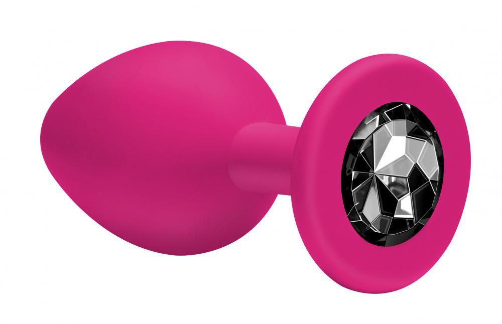 Анальная втулка cредняя EMOTIONS силиконовая, розовая с черным кристаллом, 8,5х3,3 см