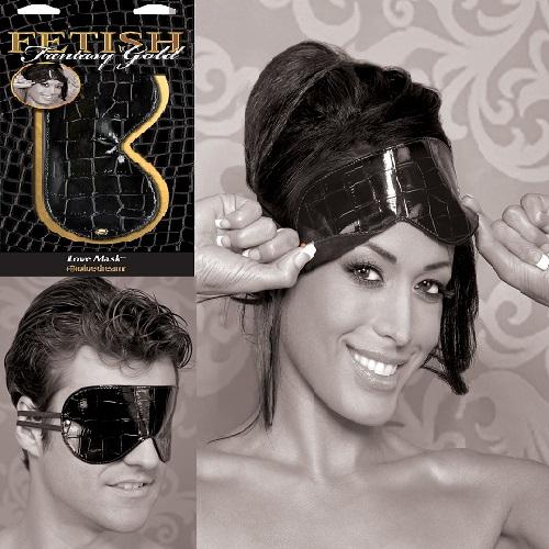 АКЦИЯ 25% Маска FETISH FANTASY Gold Love Mask искусственная крокодиловая кожа, металл, черная с золотом