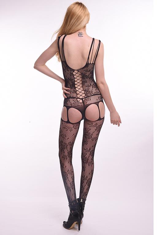 Бесшовный кетсьюит-сетка Femme Fatale с имитацией корсетной шнуровки и подвязок, черный,  разм.44-48