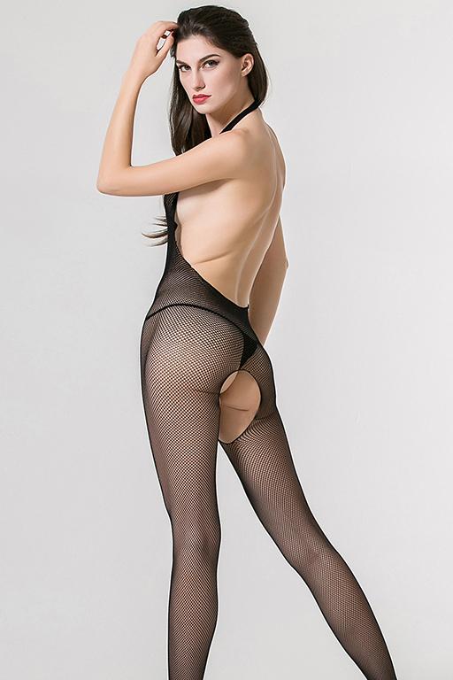 Бесшовный кетсьюит-сетка Femme Fatale с имитацией шнуровки, открытой спинкой и доступом, черный, разм. S/L (44-48)