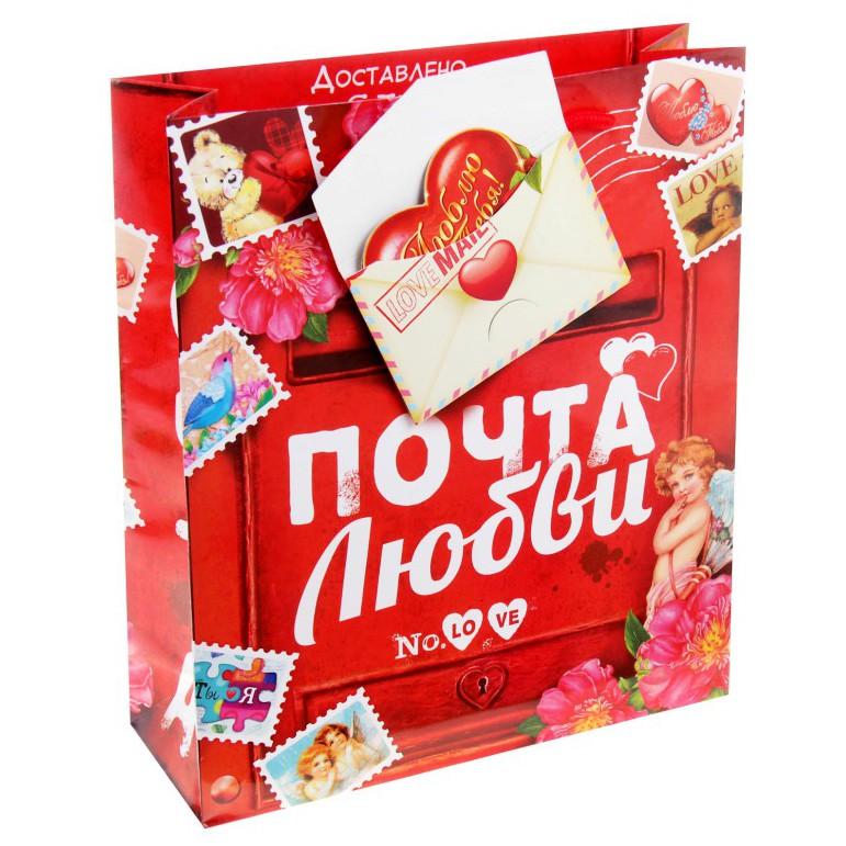 Пакет с открыткой ПОЧТА ЛЮБВИ, красный, 14х11 см