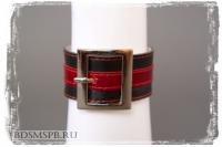 Браслет с квадратной пряжкой, натуральная кожа, черно-красный