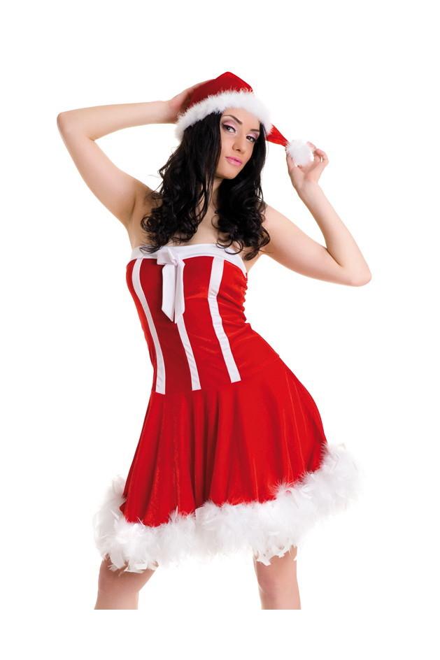 Новогоднее платье и шапочка с отделкой из пуха, красно-белое, S/L(44-48)