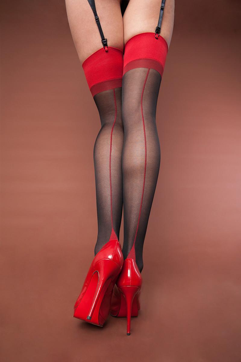 Чулки матовые черно-красные, с кубинской пяткой,  One Size (42-48)