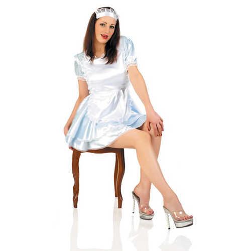 Костюм Горничной: платье, фартучек, головной убор, голубой/белый, разм. S