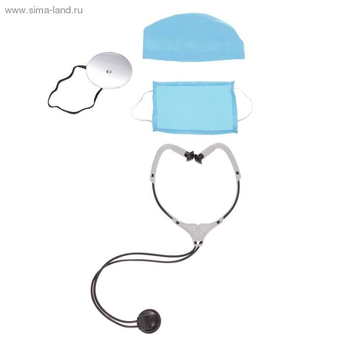 Набор  ДОКТОР 4 предмета: шапочка, маска, фонендоскоп, зеркало
