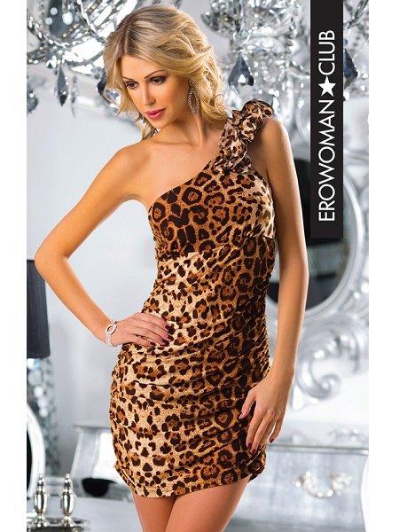 АКЦИЯ 25%!!! Платье мини, с открытым плечом, леопард, S/M (42-46)