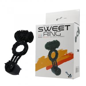 Виброкольцо SWEET RING с двумя виброяичками,  5 режиов,  силикон, черное