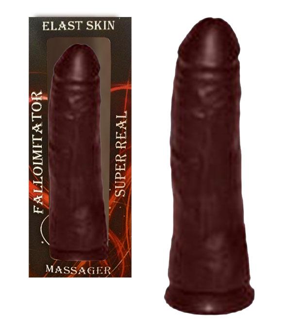 Фаллоимитатор-реалистик ELAST SKIN коричневый, 17х3,6 см