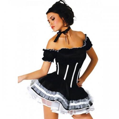 Костюм Чарующая горничная: платье с пышной юбкой, украшение на шею, трусики, черный, S/M (44-46)