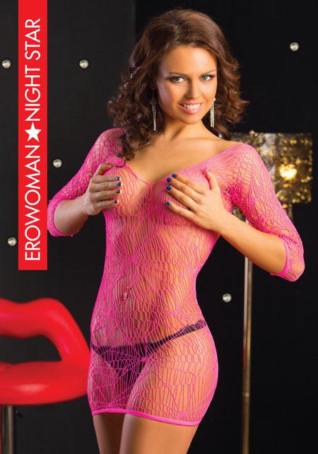 Платье кружевная сетка, розовое, разм. S/L