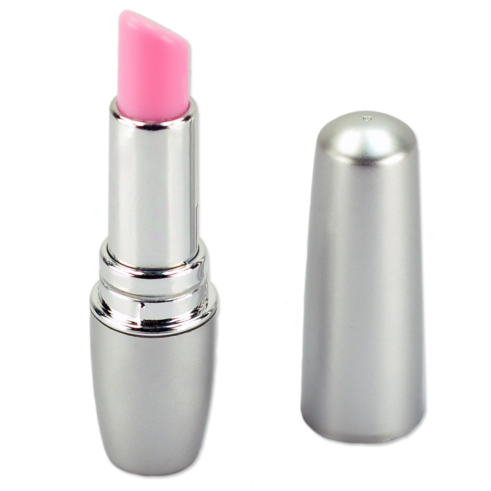 Мини-вибратор Помада LIPSTICK VIBE, АВС-пластик, серый/розовый, 9х1,2 см