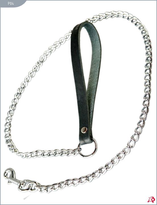 Поводок-цепь на кожаной черной ручке, 80 см