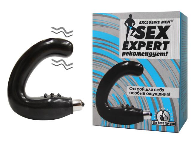 Вибромассажер простаты SEX EXPERT гладкий, с вибрацией у основания, ТПР, черный, 24(15)х3,2 см